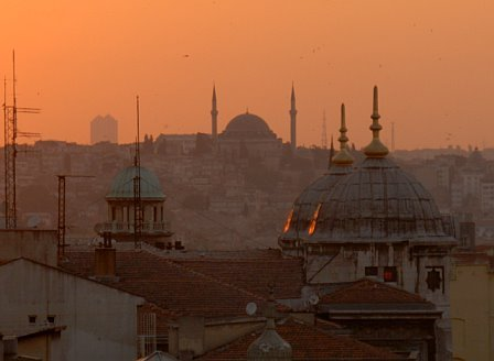The sun sets over Istanbul
