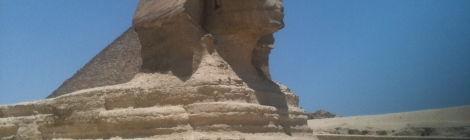 The Sphinx gazes over the Giza plateau.