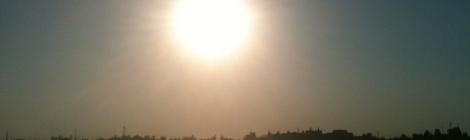 The sun rises over Luxor